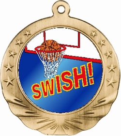 3D Basketball Motion Award Medal 2 3/4""
