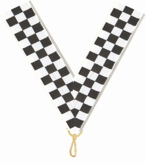 "7/8"" X 32"" Checkered Flag Neck Ribbon with Snap Clip"