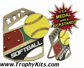 Softball Cobra Kickstand Gold Award Medal