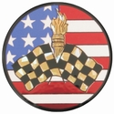 "2"" US Flag Racing Flag Holographic Mylar Trophy Insert"