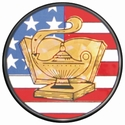 "2"" US Flag Lamp of Knowledge Holographic Mylar Trophy Insert"