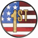 "2"" US Flag 1st Place Holographic Mylar Trophy Insert"