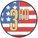 "2"" US Flag 3rd Place Holographic Mylar Trophy Insert"