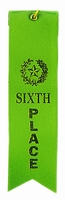 6th Place Green Award Ribbon with card
