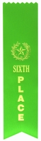 6th Place Green Pinked Ribbon