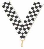 "7/8"" X 32"" Checkered Flag Neck Ribbon w/Snap Clip"