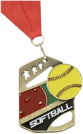 SOFTBALL COBRA KICK-STAND MEDAL