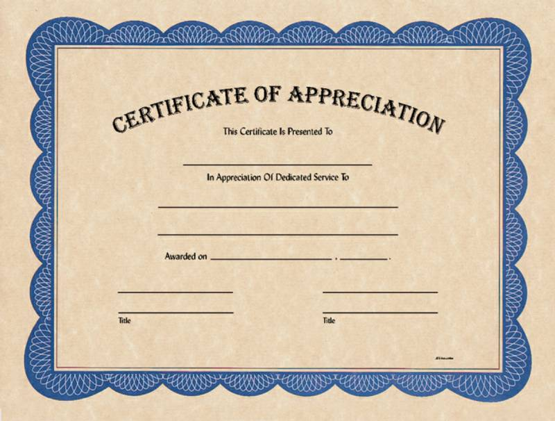 Blank Certificate Of Appreciation Award Certificates From