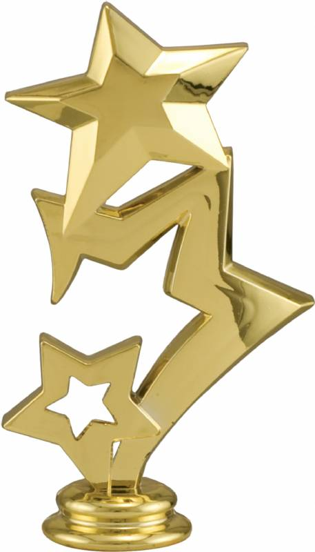 5 Gold 3 Star Trophy Figure
