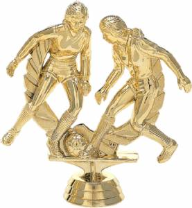 "4 3/4"" Soccer Double Action Female Trophy Figure Gold"