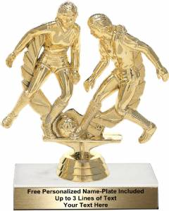 "5 1/2"" Soccer Double Action Female Trophy Kit"
