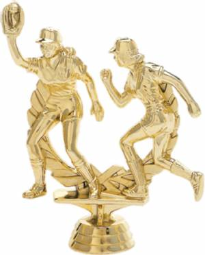 "4 3/4"" Softball Double Action Trophy Figure Gold"