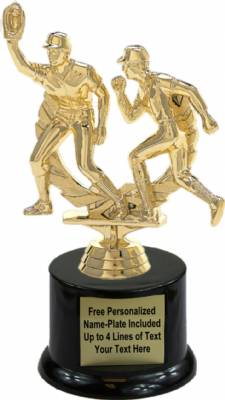 "6 3/4"" Baseball Double Action Trophy Kit with Pedestal Base"