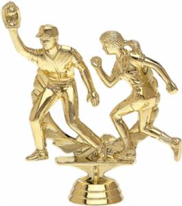 "4 5/8"" Double Action Softball Trophy Figure Gold"