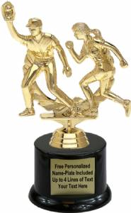 "6 5/8"" Double Action Softball Trophy Kit with Pedestal Base"