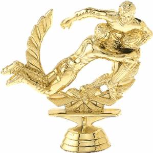 "4 3/8"" Double Action Rugby Trophy Figure Gold"