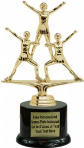 "6 3/4"" Triple Action Cheerleader Female Trophy Kit with Pedestal Base"