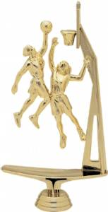 "8 3/8"" Double Action With Basketball Female Trophy Figure Gold"