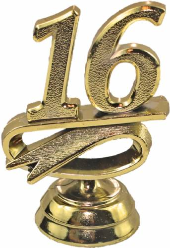 "2 1/4"" Gold ""16"" Year Date Trophy Trim Piece"