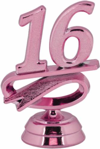 "2 1/4"" Pink ""16"" Year Date Trophy Trim Piece"