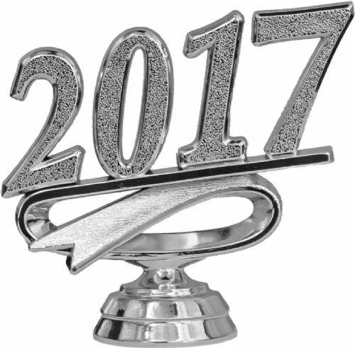 "2 1/4"" Silver ""2017"" Year Date Trophy Trim Piece"
