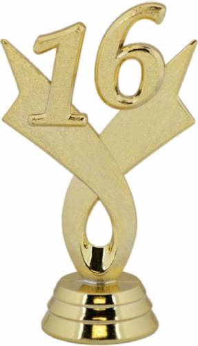 "3 1/4"" Gold ""16"" Year Date Trophy Trim Piece"