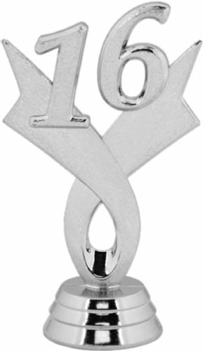 "3 1/4"" Silver ""16"" Year Date Trophy Trim Piece"