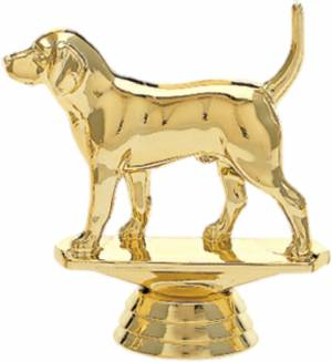 "Gold 3-1/4"" Beagle Dog Trophy Figure"