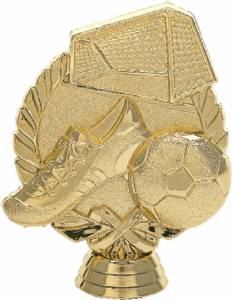 "4 3/8"" Wreath Soccer With Ball Trophy Figure Gold"