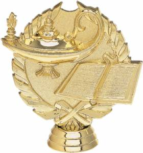 "4"" Wreath Series Lamp of Knowledge Trophy Figure Gold"