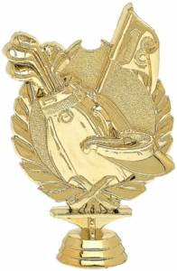 "5 1/8"" Wreath Series Golf Trophy Figure Gold"
