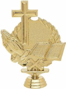 "5 1/4"" Wreath Series Cross Trophy Figure Gold"