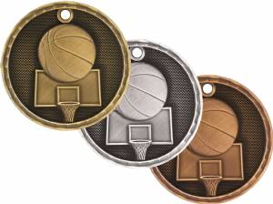 "2"" Basketball 3-D Award Medal"