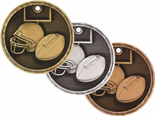 "2"" Football 3-D Award Medal"