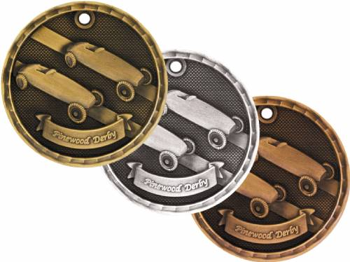 "2"" Pinewood Derby 3-D Award Medal"