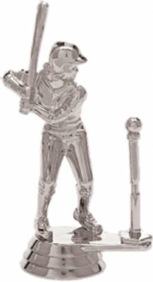 "3 3/4"" T-ball Batter Female Trophy Figure Silver"