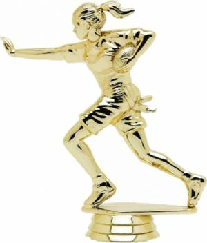 "Gold 4 3/4"" Flag Football Female Trophy Figure"