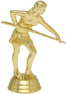 "4"" Pool Shooter Female Trophy Figure Gold"