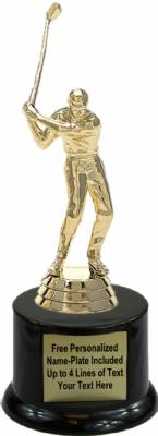 "6"" Golfer Male With Club Trophy Kit with Pedestal Base"