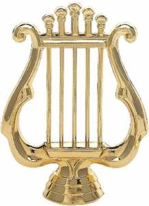 "4 1/4"" Music Lyre Trophy Figure Gold"