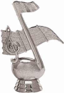 "4 1/4"" Music Note Trophy Figure Silver"