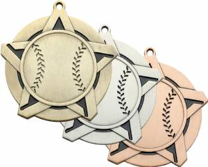 "2 1/4"" Super Star Series Baseball Award Medal"
