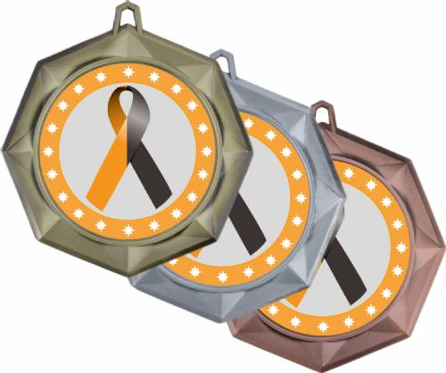 "Black Orange Ribbon Awareness 3"" Award Medal"