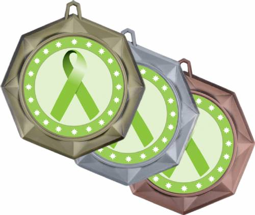 "Lime Green Ribbon Awareness 3"" Award Medal"