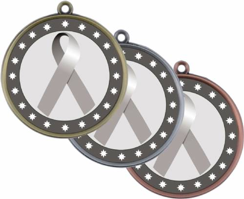 "Grey Ribbon Awareness 2 1/4"" Award Medal"