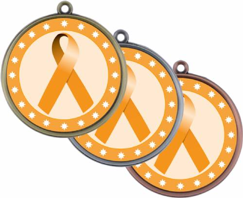 "Orange Ribbon Awareness 2 1/4"" Award Medal"