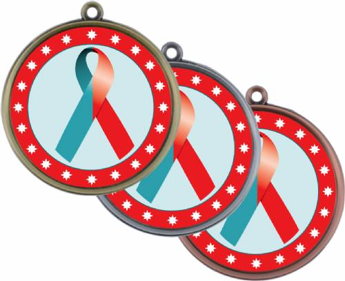 "Red Teal Ribbon Awareness 2 1/4"" Award Medal"