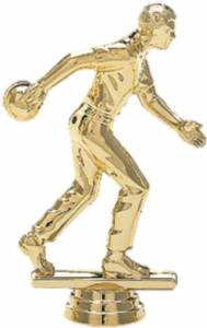 "4 1/4"" Bowler Male Trophy Figure Gold"