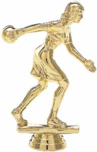 "4 1/4"" Bowler Female Trophy Figure Gold"