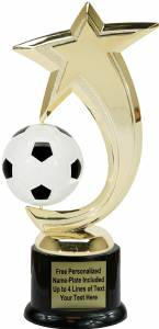 "8"" Soccer Shooting Star Spinning Trophy Kit with Pedestal Base"